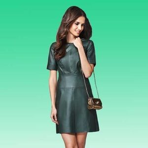 TopShop Green Faux Leather Mini Dress